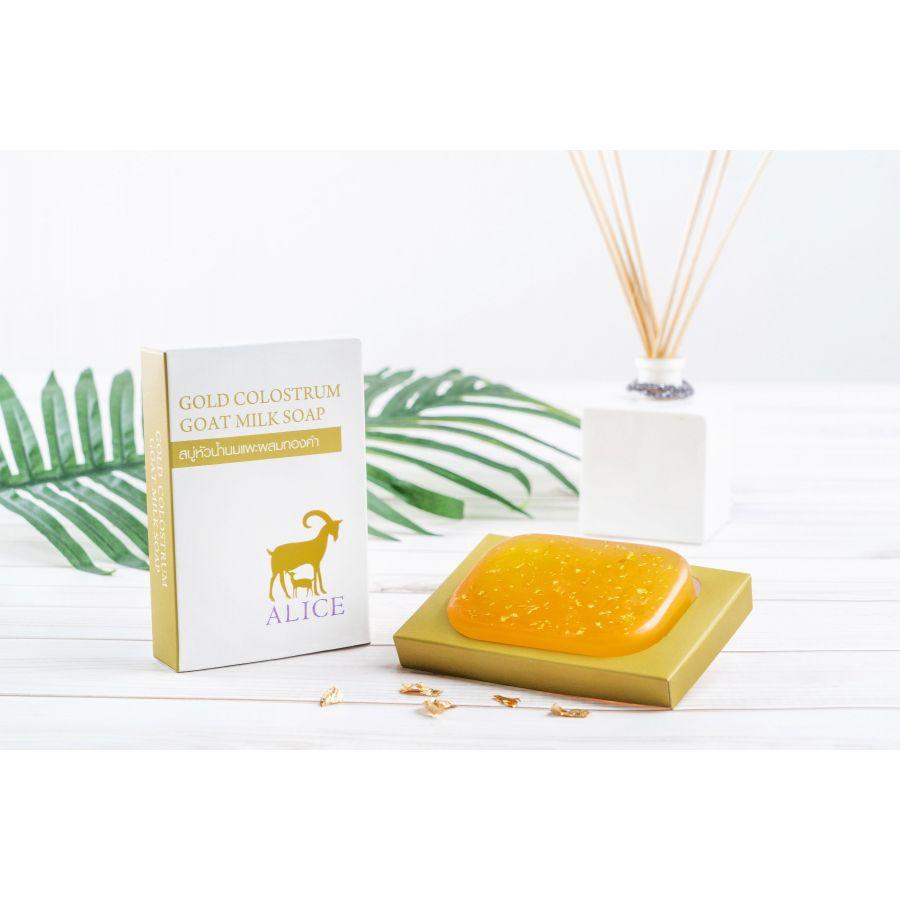 สบู่หัวน้ำนมแพะผสมทองคำ (GOLD COLOSTRUM  GOAT MILK SOAP) 90 g.