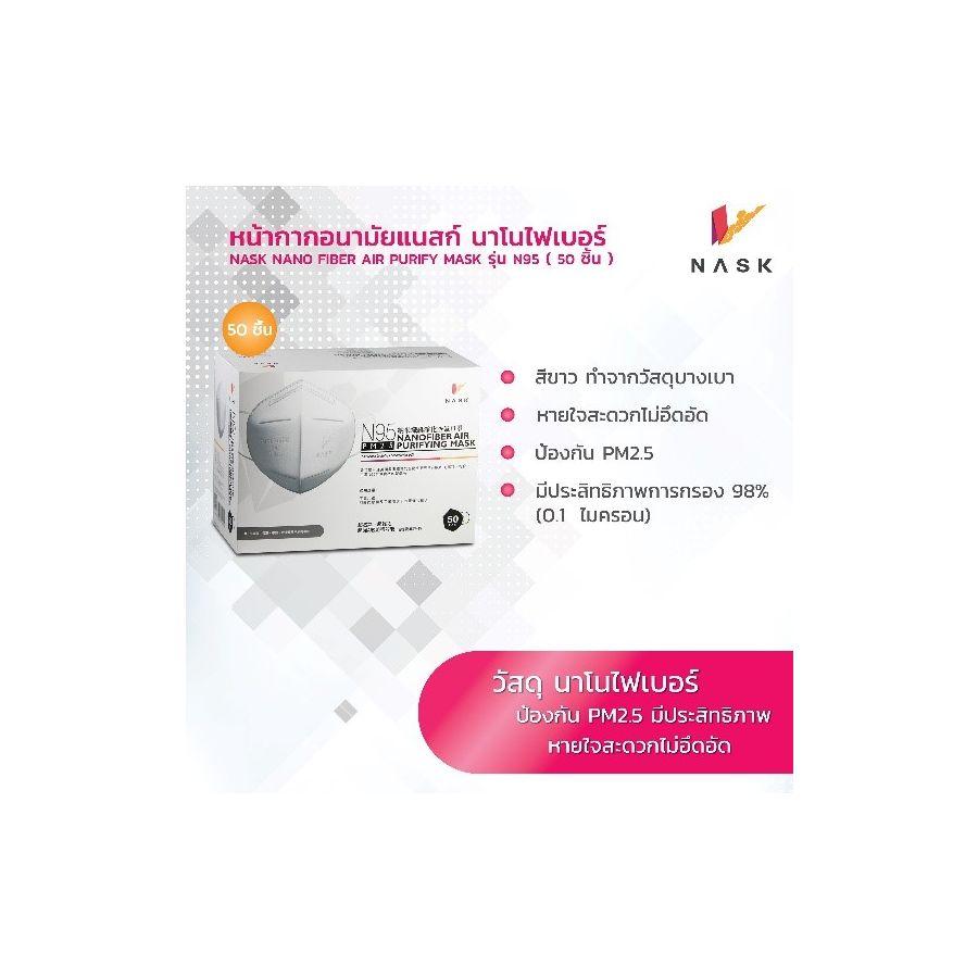 N95 หน้ากากอนามัย นาโนไฟเบอร์ สวมใส่สบายหายใจสะดวก PM2.5 N95 size L (1 กล่องแพค 50 ชิ้น)