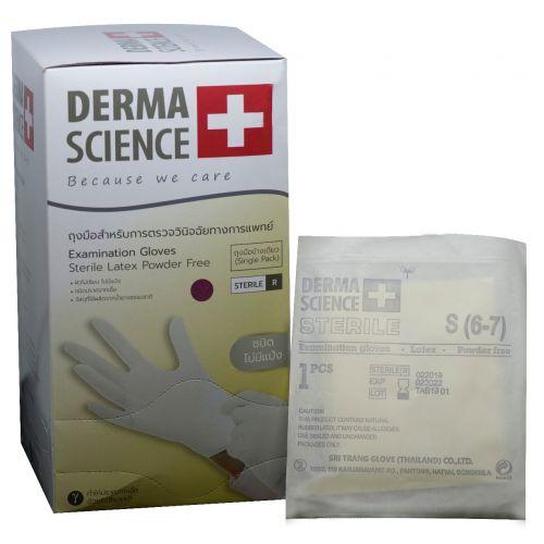 ถุงมือสเตอร์ไรด์แบบข้างเดียว  ไซส์ L สำหรับดูดเสมหะ (แบบชิ้น) 80 ชิ้น เดอร์มาซายน์ (DERMA SCIENCE)