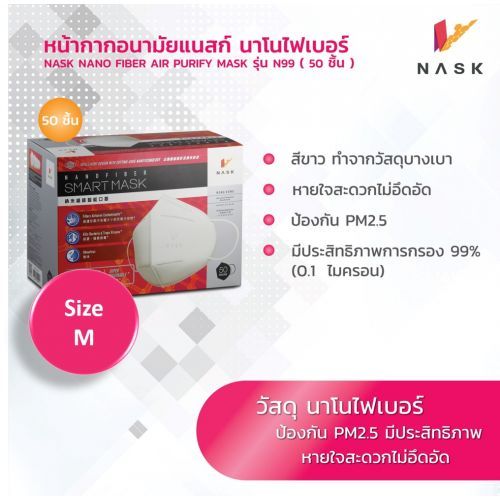 N99 หน้ากากอนามัย นาโนไฟเบอร์ สวมใส่สบายหายใจสะดวก PM2.5 size M (1 กล่องแพค 50 ชิ้น)