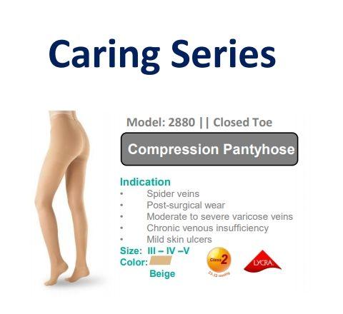 ผลิตภัณฑ์ถุงน่อง OPPO รุ่น 2880 รักษาเส้นเลือดขอด Class2 แรงดัน 23-32mmHg แบบเต็มตัว size IV  OPPO Model 2880 Caring series Compression level Class 2 : 23-32 mmHg Size IV