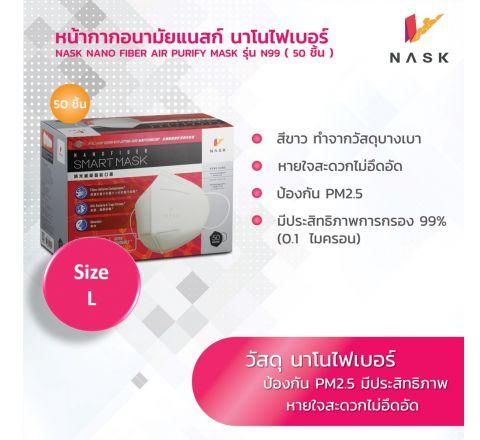 N99 หน้ากากอนามัย นาโนไฟเบอร์ สวมใส่สบายหายใจสะดวก PM2.5 size L (1 กล่องแพค 50 ชิ้น)